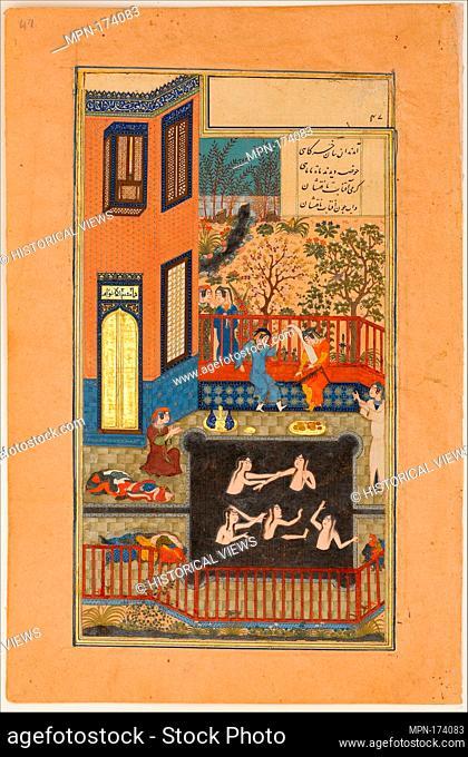 The Eavesdropper, Folio 47r from a Haft Paikar (Seven Portraits) of the Khamsa (Quintet) of Nizami. Calligrapher: Maulana Azhar (d