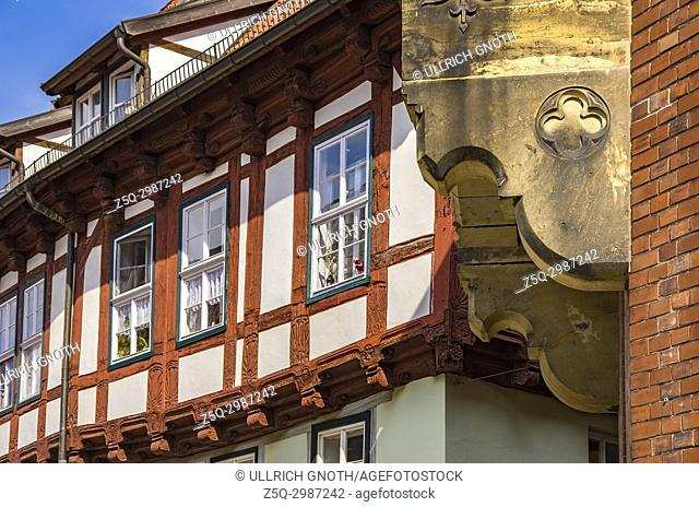 Historic half-timbered architecture at the market square of Quedlinburg, Saxony-Anhalt, Germany