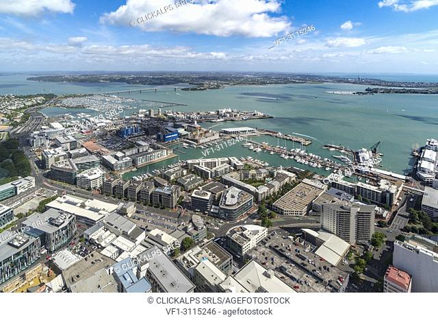 View of the city harbour and bridge from Sky Tower. Auckland City, Auckland region, North Island, New Zealand