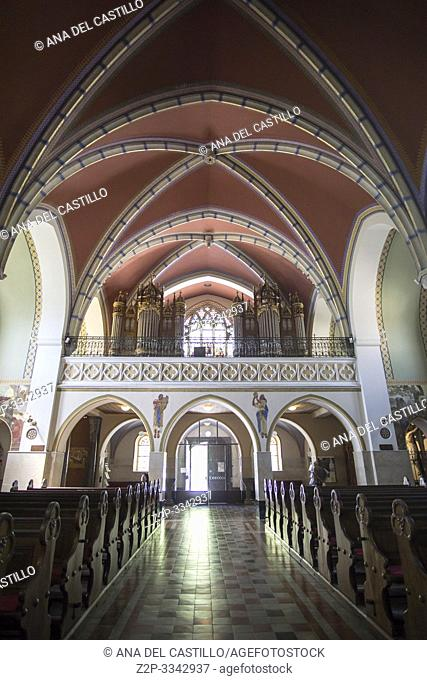 Bled in Slovenia on April 20, 2019: Neo Gothic Church of Saint Martin interior in Bled
