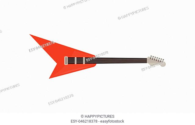 Red electric guitar, rock music instrument vector Illustration isolated on a white background