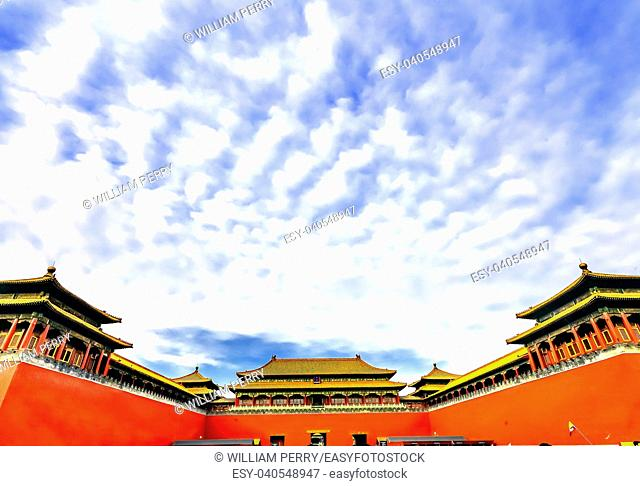Meridian Gate Gugong Forbidden City Palace Wall Beijing China. Emperor's Palace Built in the 1600s in the Ming Dynasty
