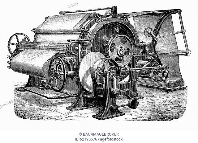 Finishing machine, steam dryer, historical illustration, wood engraving, circa 1888