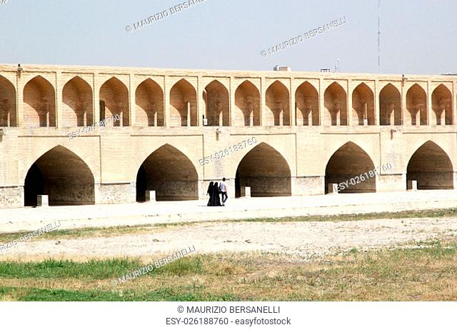 Siosepol Bridge, Bridge of 33 Archs at Isfahan, Iran. Bridge of 33 Archa is one of the eleven bridges of Isfahan and the longest bridge on the Zayadeh river...