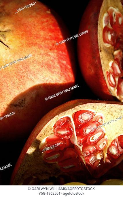 close up of cut pomegranate