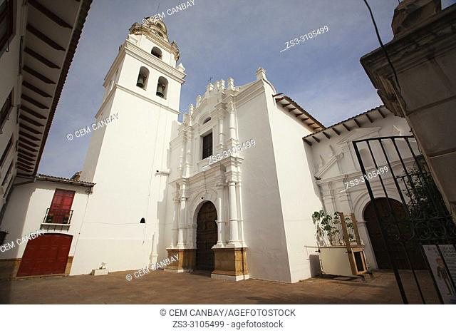 View to the Parroquia San Miguel Arcangel Church at the historic center, Sucre, Chuquisaca Department, Bolivia, South America