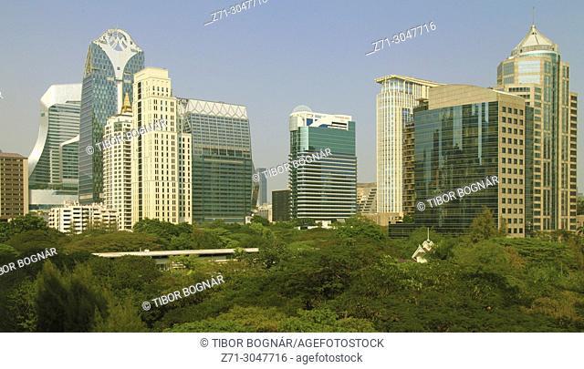 Thailand, Bangkok, Ploenchit Road, skyscrapers, skyline,