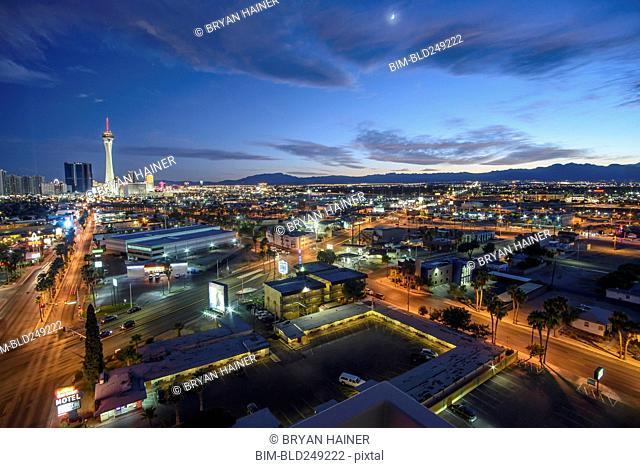 Cityscape at sunset, Las Vegas, Nevada, United States