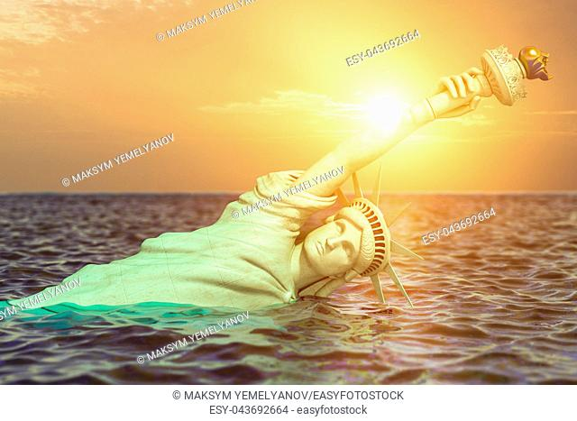 Destroyed Statue of liberty in the sunset half covered by rising ocean level. Apocalypse of USA, America and the end of civilization concept