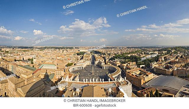 View of the city and St. Peter's Square as seen from the dome of St. Peter's Basilica, Rome, Italy, Europe