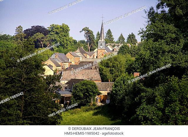 France, Aisne, Neuve Maison, village and Saint Lazare church