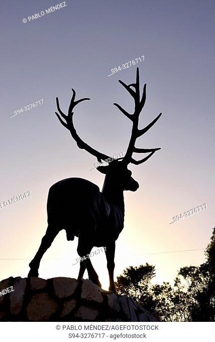Sculpture of a deer over Naryn river, Naryn, Kyrgyzstan