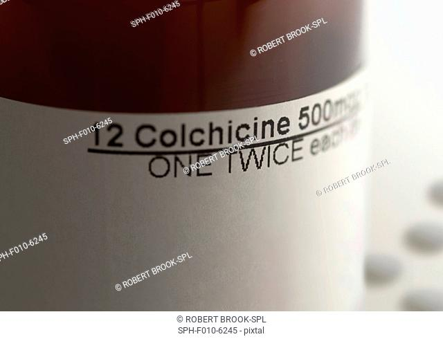 Colchicine tablets for the treatment of gout. The active ingredient is an extract from plants of the genus Colchicum, and is toxic