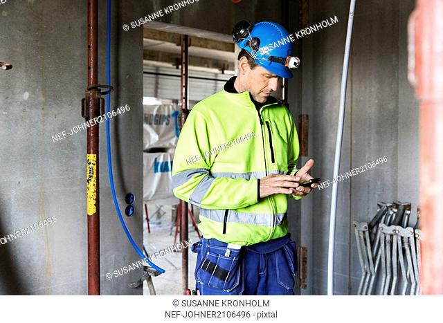 Builder using cell phone