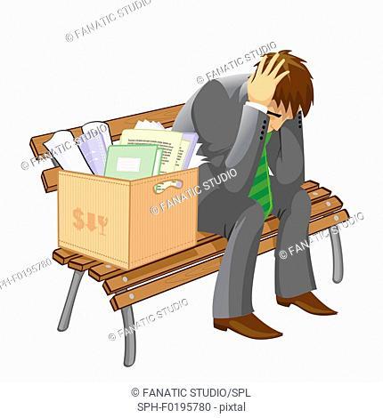 Unemployed man sitting on a bench, illustration