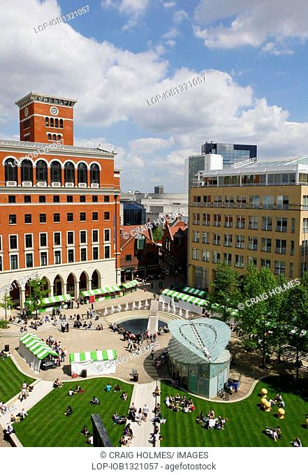 England, West Midlands, Birmingham, The Farmers Market in Central Square, Brindleyplace, in Birmingham, held on the last Friday of every month