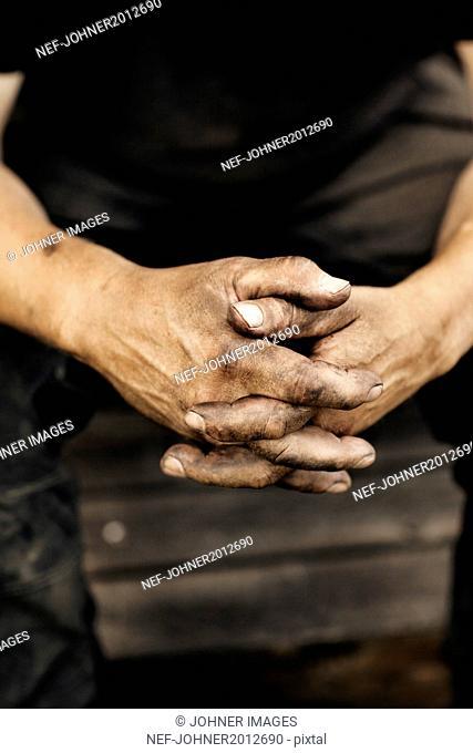 Close-up of mans hands