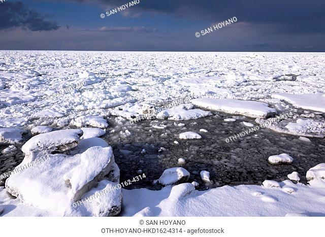 Ice floe seen off coast of Okhotsk Sea, Abashiri city, Hokkaido, Japan