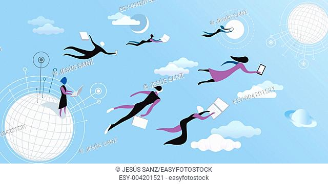 Men a women flying and working between clouds