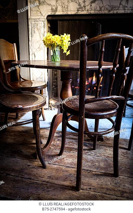 Old wooden table and chairs. Vase with daffodils, Fireplace in background. London, England