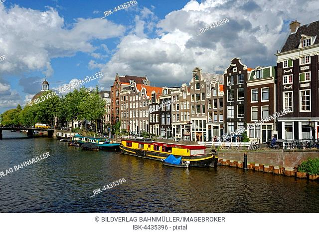 Historic row of houses on the Singel canal, Amsterdam, Holland, The Netherlands