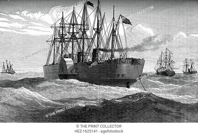 The Great Eastern playing out the Atlantic telegraph cable, c1865, (c1880). A print from Great Industries of Great Britain, Volume I