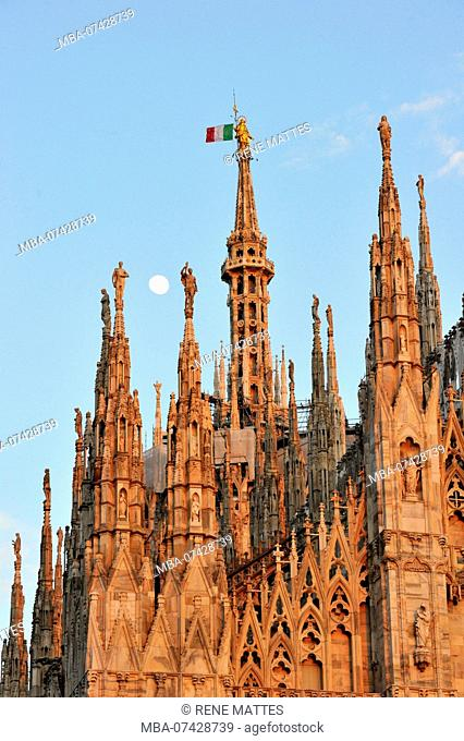 Italy, Lombardy, Milan, Piazza del Duomo, the Cathedral of the Nativity of the Holy Virgin (Duomo) built between the 14th century and the 19th century is the...