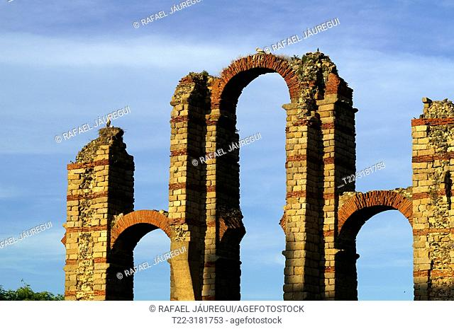 Merida (Spain). Architectural detail of the arcade of the Aqueduct of Los Milagros in the city of Mérida