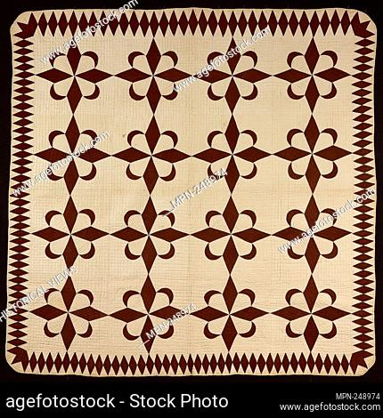 """Bedcover (""""""""Star and Crescent"""""""" Quilt) - early 19th century - Pennsylvania Dutch United States, Pennsylvania - Origin: United States, Date: 1800–1830"""