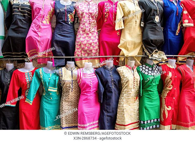 A rack of saris for sale in marketplace in Jaipur, India