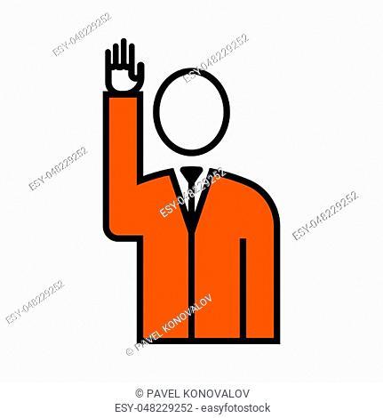 Voting Man Icon. Thin Line With Orange Fill Design. Vector Illustration