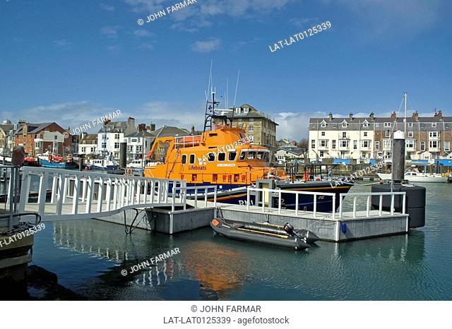 The historic south coast town of Weymouth,has a busy harbour and port. There is a RNLI Lifeboat called Ernest and Mabel stationed at Weymouth