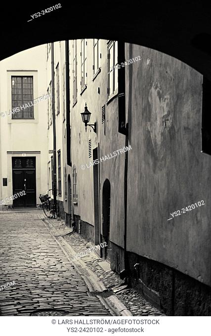Old building and empty alley in Gamla Stan (Old Town) Stockholm, Sweden