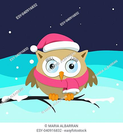 Female owl with Santa Claus hat on a branch. Christmas vector illustration