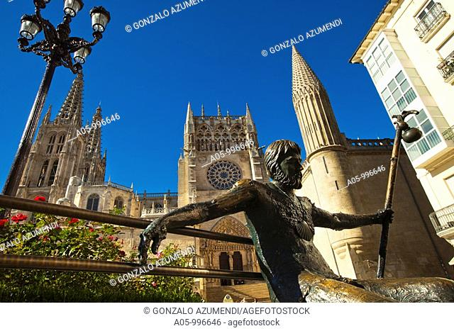 Pilgrim sculpture and cathedral, Burgos. Castilla-Leon, Spain