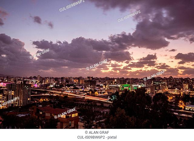 Skyline cityscape at sunset, elevated view, Beirut, Lebanon
