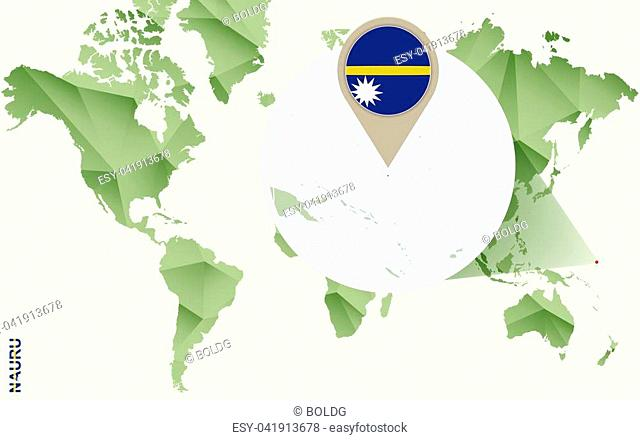 Infographic for Nauru, detailed map of Nauru with flag. Vector Info graphic green map