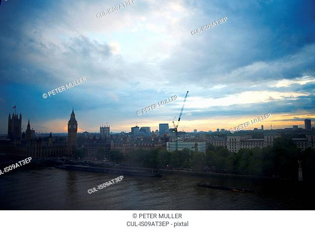 High angle view of the Thames and Westminster Palace at dawn, London, England, UK