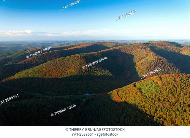 France, Bas Rhin 67, north-west of Oberbronn, Regional natural park of Northern Vosges during autumn, Niederbronn forest aerial view