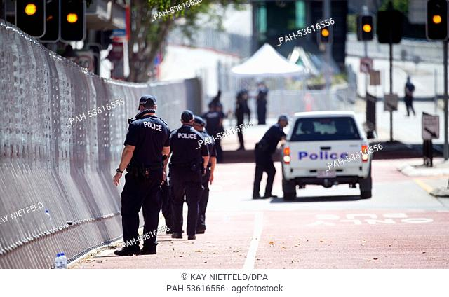 Police secure the premises for the G20 summit in Brisbane, Australia, 15 November 2014. Brisbane is the center of world politics until 16 November 2014