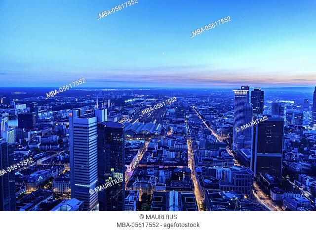 Europe, Germany, Hessen, Frankfurt, area around the main station from above with bank towers at the blue hour