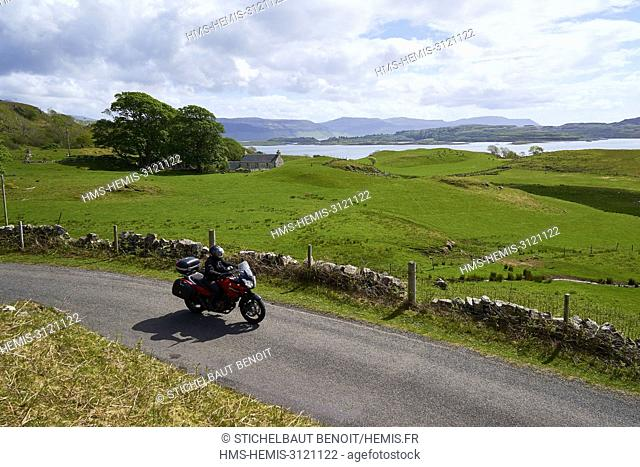 United Kingdom, Scotland, Highland, Inner Hebrides, Isle of Mull, motorcycle on the road along Loch Tuath