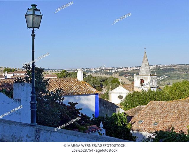 Middle age village Óbidos with city wall and church Santa Maria, Region Centro, District Leiria, Portugal, Europe