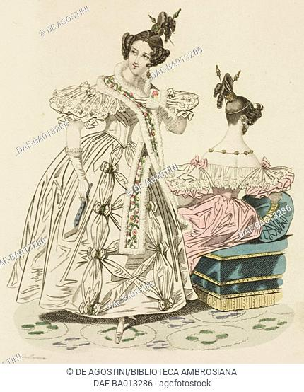 Female sketches with tulle dress, cloak (or polonaise) made of embroidered satin, with hairstyle decorated by precious stones and headband