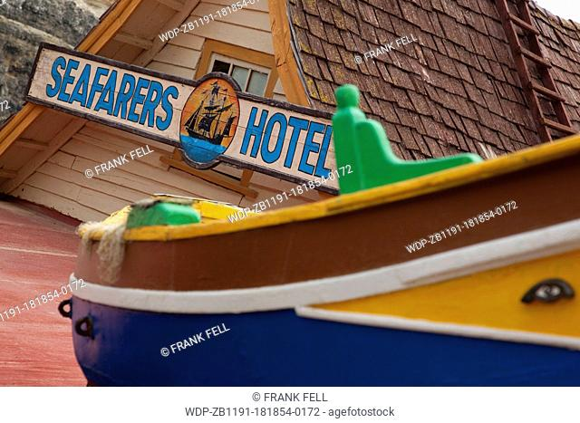 Maltese Islands, Malta, Popeye Village, Seafarers Hotel Sign