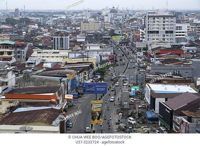 View of Pontianak town from hotel room, West Kalimantan, Indonesia