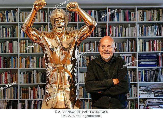 Famous sculptor and goldsmith Björn Weckström in his home with his art, Helsinki, Finland