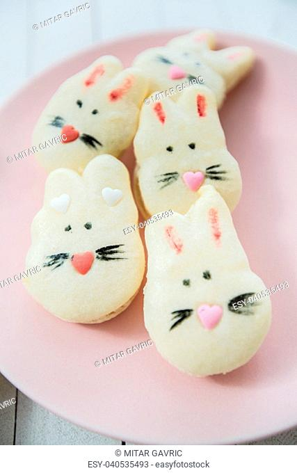 Decorated macarons handmade almond cookies, delicious tasty food
