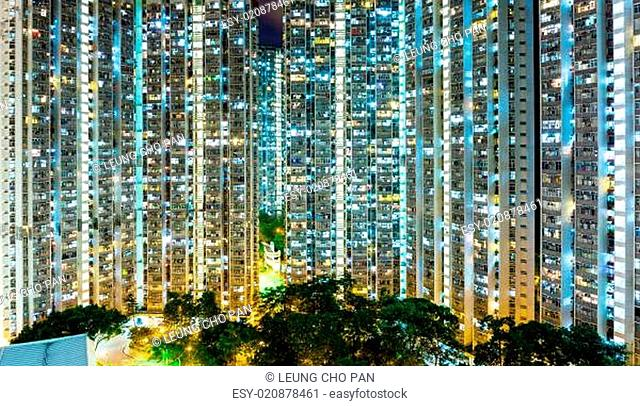 Tall buildings at night
