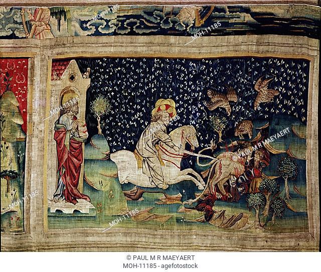 La Tenture de l'Apocalypse d'Angers, Les Bêtes sont jetées dans l'étang de feu 1,58 x 2,45m, der weiße Reiter treibt das Tier ins Feuer